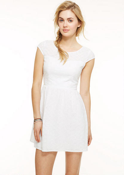 Delia's Cap Sleeve Floral Eyelet Dress