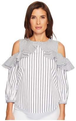 Lauren Ralph Lauren Striped Cotton Cold-Shoulder Shirt Women's Clothing