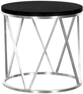 Armen Living Emerald Contemporary Round End Table, Brushed Stainless Steel