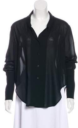 Theyskens' Theory Long Sleeve Button-Up Top