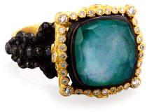 Armenta Old World Midnight Cushion-Cut Ring with Diamond Halo