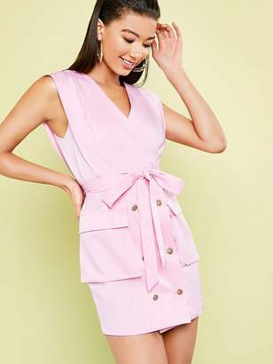 Shein Double Breasted Flap Pocket Patched Belted Dress