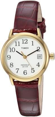 Timex Women's TW2R63400 Easy Reader Brown Croco Pattern Leather Strap Watch
