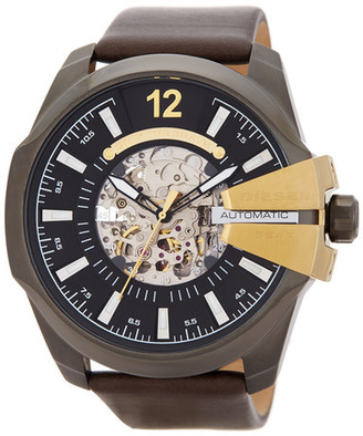 Diesel Men's Mega Chief Automatic Skeleton Leather Strap Watch $375 thestylecure.com