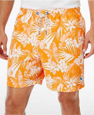 Tommy Bahama Men's Naples Plumeria Paradise Drawstring Sun Protection 50 Swim Trunks $58 thestylecure.com