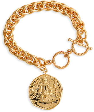 Helena Jonesy Wood Chain Medallion Bracelet