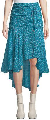 Contemporary Designer Sevilla Floral Ruched Tulip Skirt