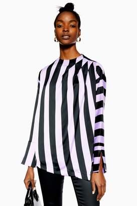 Topshop Womens Wide Stripe Blouse - Purple