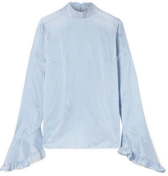 Erdem Lindsay Ruffle-trimmed Striped Silk Blouse - Blue