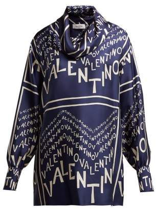 Valentino Logo Print Cowl Neck Silk Satin Blouse - Womens - Navy White
