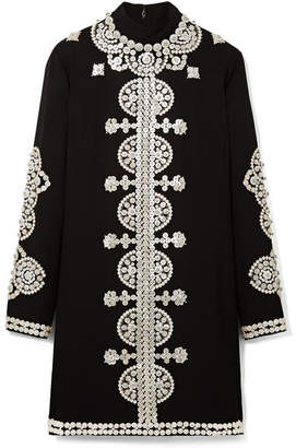 Tory Burch - Sylvia Embellished Crepe Mini Dress - Black