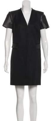 Rachel Zoe Leather-Trimmed Mini Dress