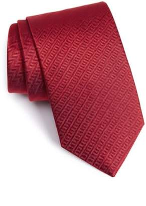 Eton Herringbone Textured Silk Tie