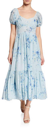 LoveShackFancy Angie Floral-Print Square-Neck Short-Sleeve Maxi Dress