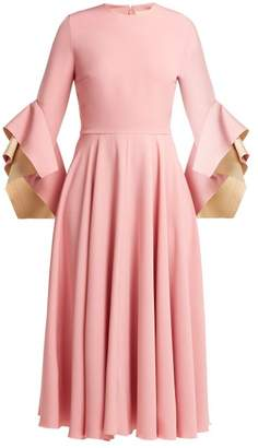 Roksanda Flared Sleeve Cady Dress - Womens - Pink