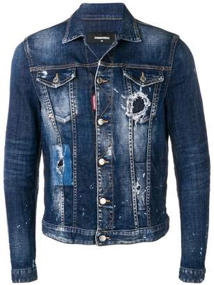 DSQUARED2 paint splatter denim jacket