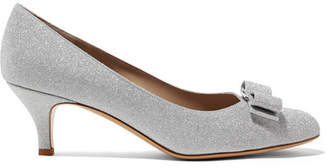 Salvatore Ferragamo Carla Bow-embellished Glittered Leather Pumps - Silver