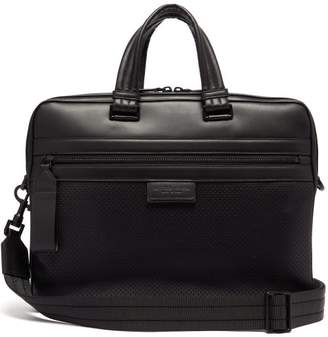 Perforated Panel Leather Briefcase - Mens - Black