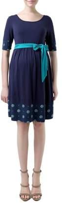 Kimi and Kai 'Phee' Polka Dot Trim Maternity Skater Dress