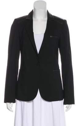 Barneys New York Barney's New York Leather-Trimmed Wool-Blend Blazer