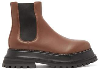 Burberry Braemar Chunky Leather Chelsea Boots - Womens - Tan