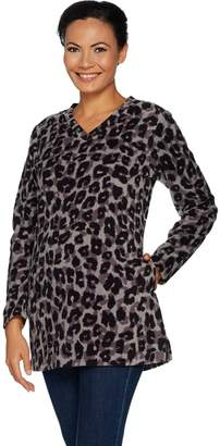 Denim & Co. Petite Animal Print Fleece Tunic w/ Pockets