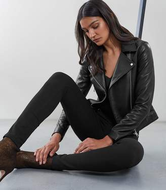Reiss Gia Leather Biker Jacket