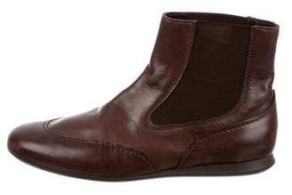 Hogan Leather Round-Toe Ankle Boots