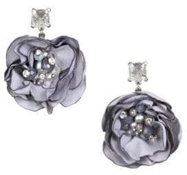Badgley Mischka White Pearl, Light Grey Pearl and Crystal Flower Drop Earrings