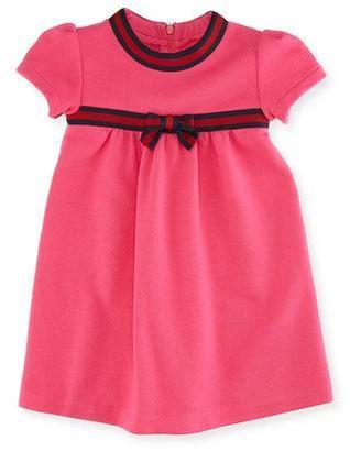Gucci Short-Sleeve Web-Trim Dress, Size 6-36 Months $235 thestylecure.com