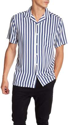 Onia Short Sleeve Stripe Print Woven Regular Fit Shirt