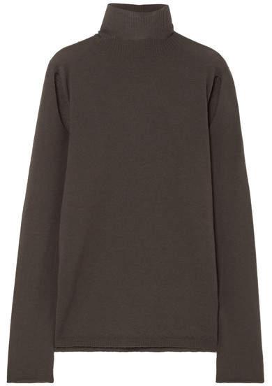 Rick Owens Cutout Wool Turtleneck Sweater - Dark gray