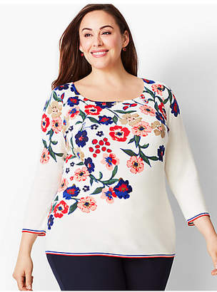 Talbots Tipped Square-Neck Sweater-Floral Cascade