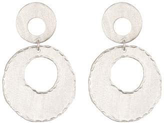 Rivka Friedman White Rhodium Clad Fire Edge Double Dangle Earrings