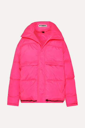 Vetements Hooded Quilted Shell Down Coat - Pink