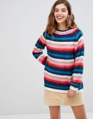 Paige Willow And Willow & fluffy knit sweater in stripe