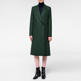 Women's Dark Green Wool-Cashmere Double-Breasted Coat $795 thestylecure.com