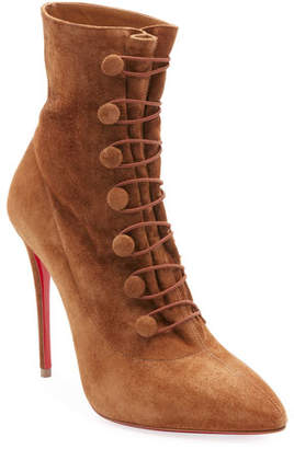 Christian Louboutin French Tutu Button-Loop Suede Red Sole Bootie