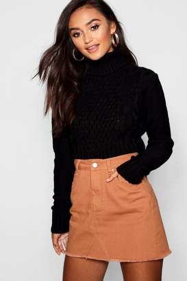 boohoo Petite Roll Neck Cable Knit Crop Sweater