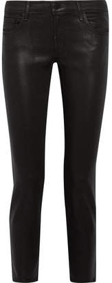 J Brand Hipster Coated Low-rise Skinny Jeans - Black