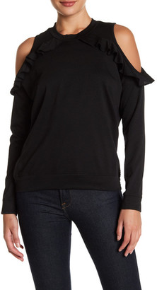 Ten Sixty Sherman Ruffle Cold Shoulder Fleece Pullover $42 thestylecure.com
