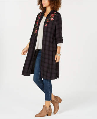 Style&Co. Style & Co Flower-Embroidered Plaid Completer Shirt