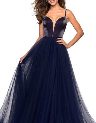 La Femme Plunge-Neck Sleeveless Two-Tone Satin Bodice & Tulle Skirt Ball Gown