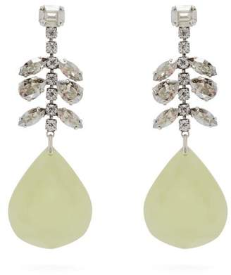 Isabel Marant Crystal Embellished Silver Plated Drop Earrings - Womens - Yellow