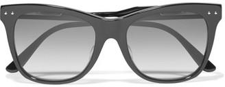 Bottega Veneta - Cat-eye Leather-trimmed Acetate Sunglasses - Black $405 thestylecure.com