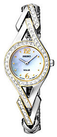 Seiko Women's Two-Tone Mother-of-Pearl Swarovski Accent Watch $295 thestylecure.com