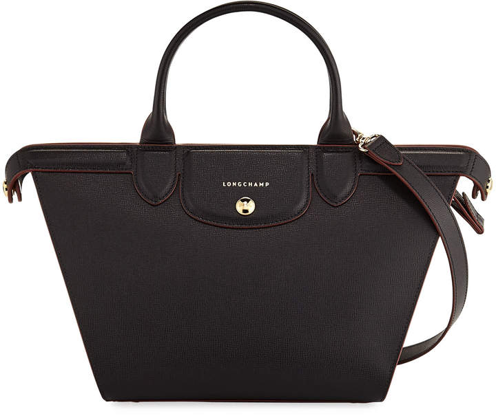 Longchamp Le Pliage Heritage Medium Leather Tote Bag, Black
