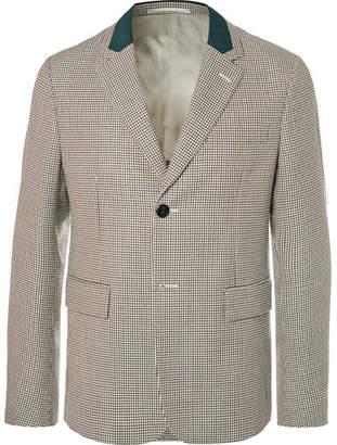 Prada Beige Micro-Gingham Virgin Wool Blazer