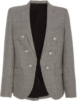 Balmain Asymmetric Six-Button Houndstooth Twill Blazer