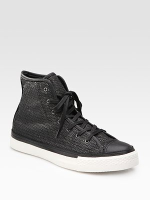 Leather Sequin High-Top Sneakers